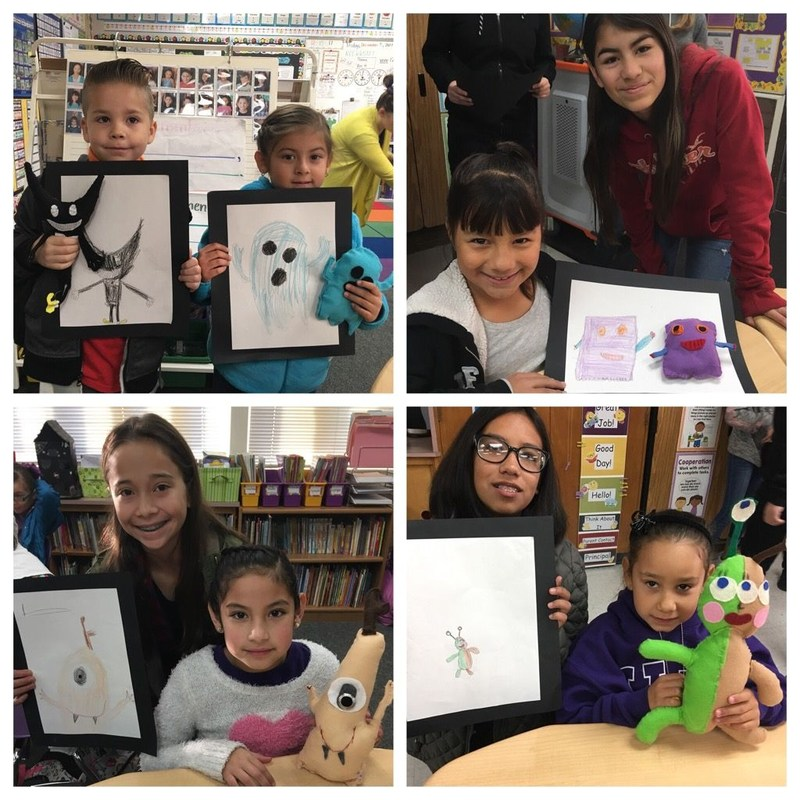 first grade students drew a monster and 8th grade students made a 3D doll of the monsters.