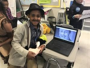 student dressed as Walt Disney