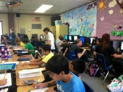 Students participating in homework.
