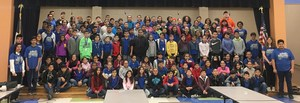 group picture of the VMHS students with the Mims Elementary fifth graders