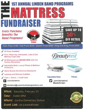 Flier for Mattress Fundraiser
