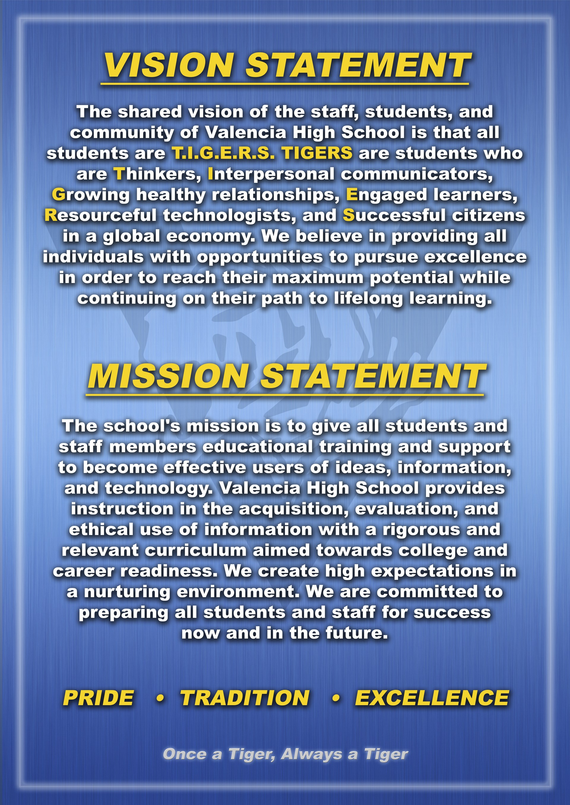 mission vision about us valencia high school