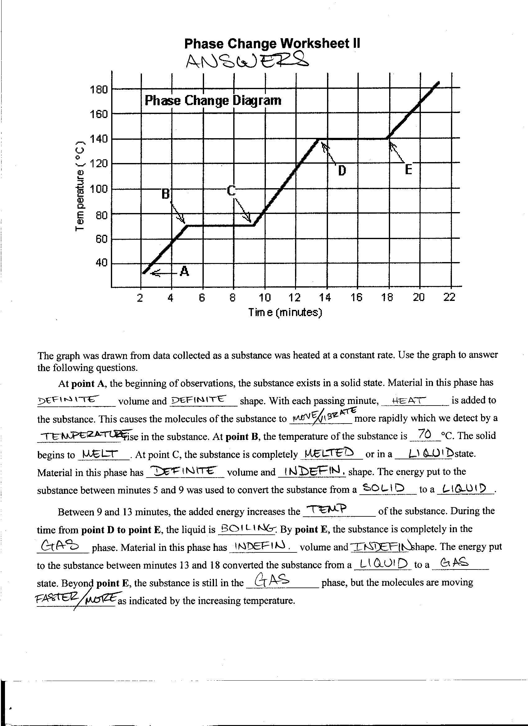 phase change worksheet bagruinfo – Phase Change Graph Worksheet