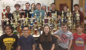 Central Magnet team with trophies from throughout  the past seven years