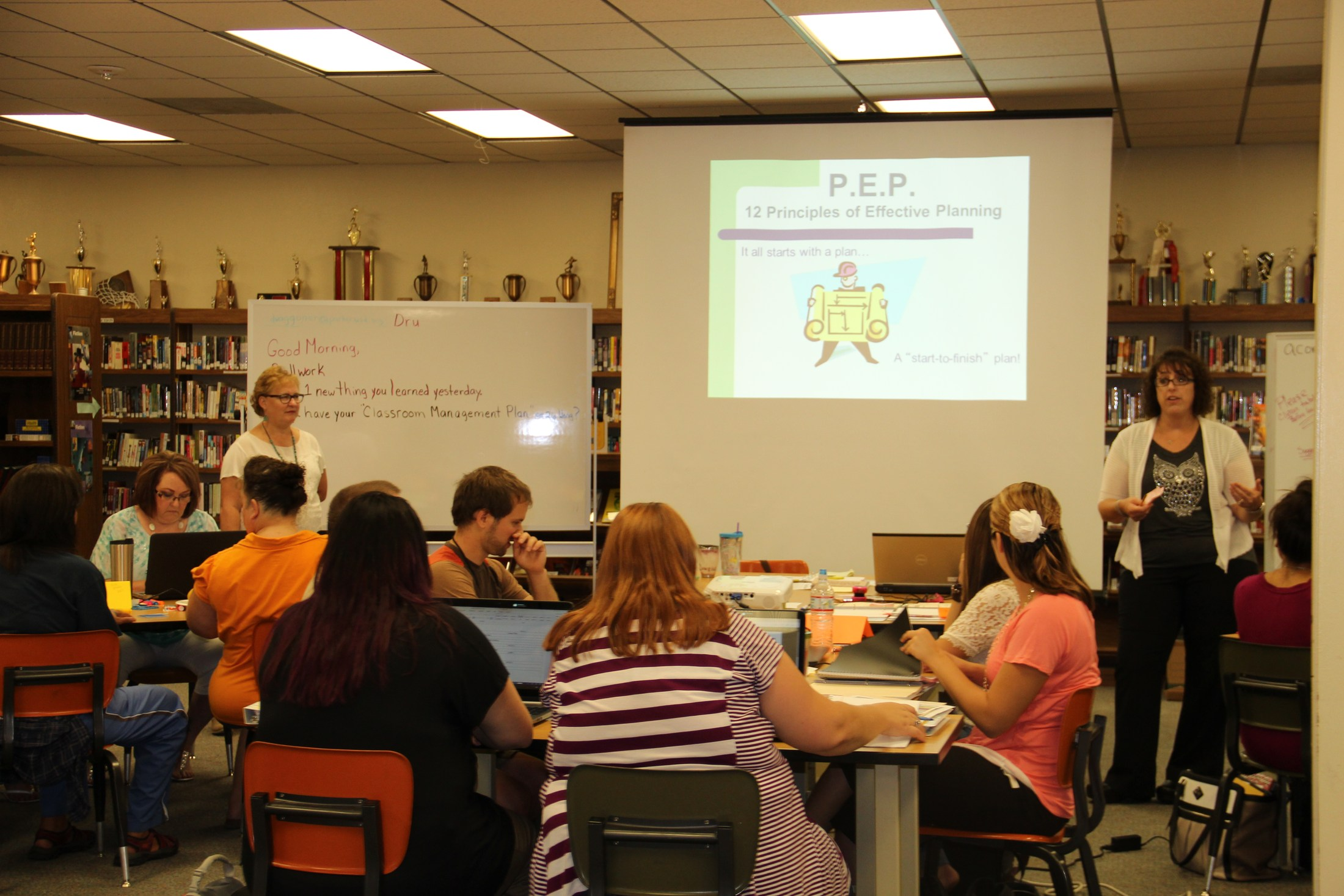 Teachers at professional development training
