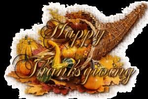 Cornucopia with words Happy Thanksgiving.