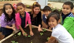 Kindergarten class enjoys the Teaching Garden.