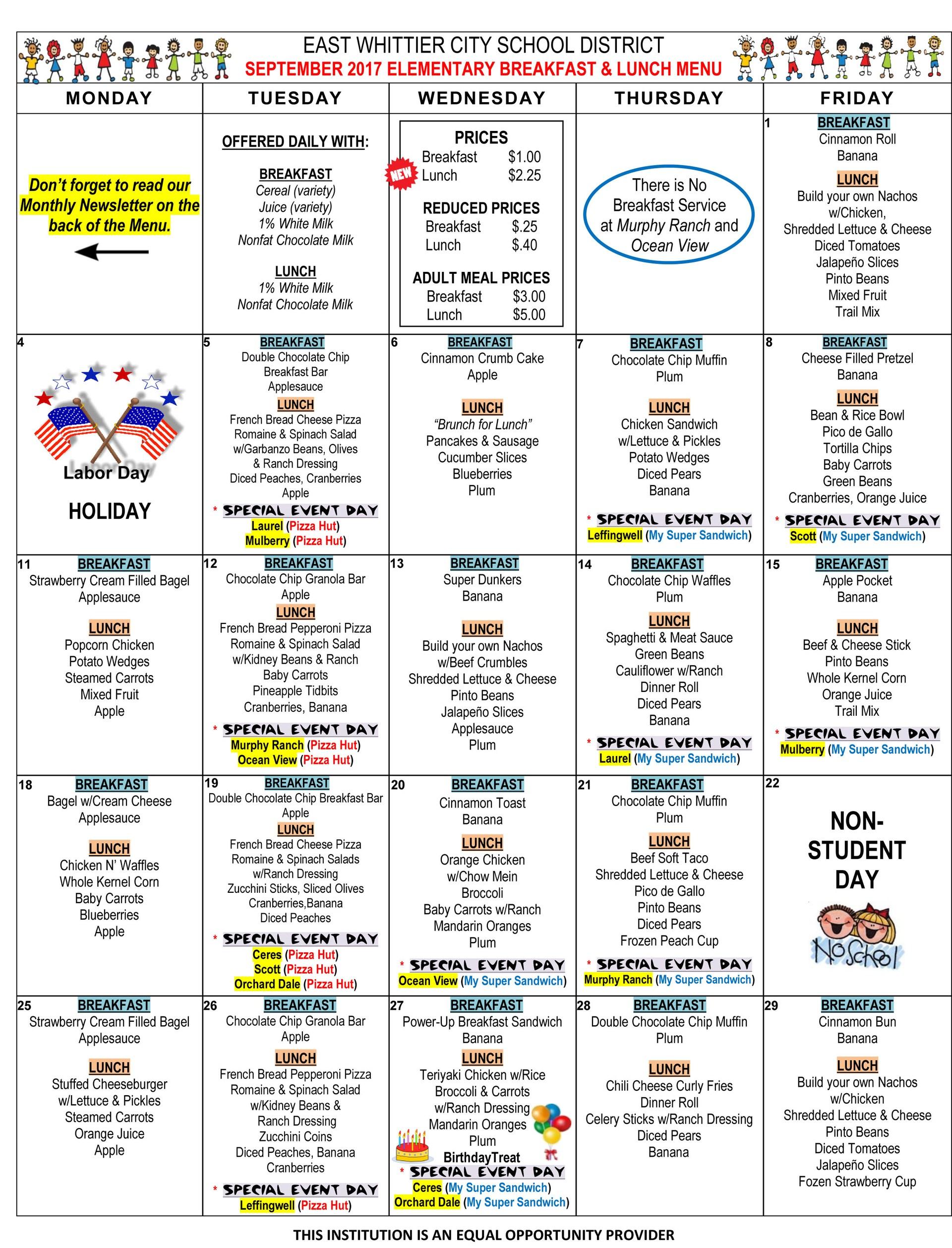 September 2017 menu