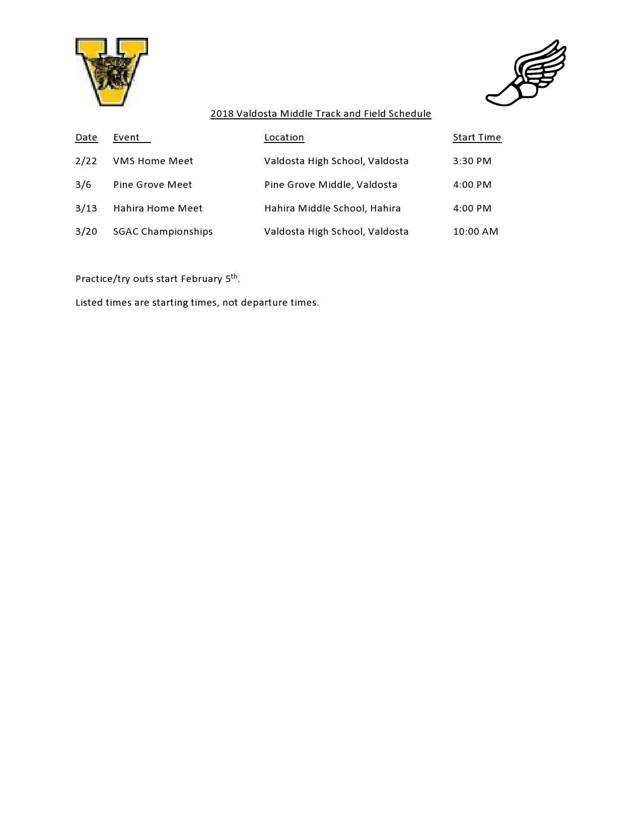 VMS Track Schedule 2018