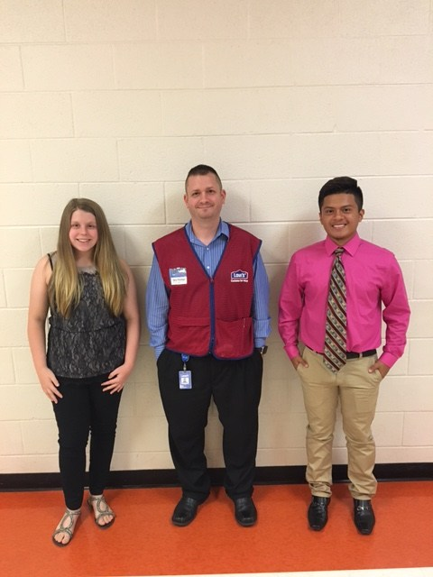 Hannah & Sergio with Mr. Holman (Lowes Companies)