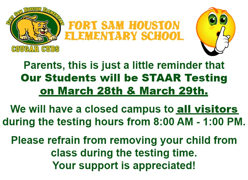 STAAR Testing Quiet Notice