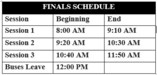Final Exams Schedule.  Scroll to the main menu to Students and Parents then down to Bell Schedules.