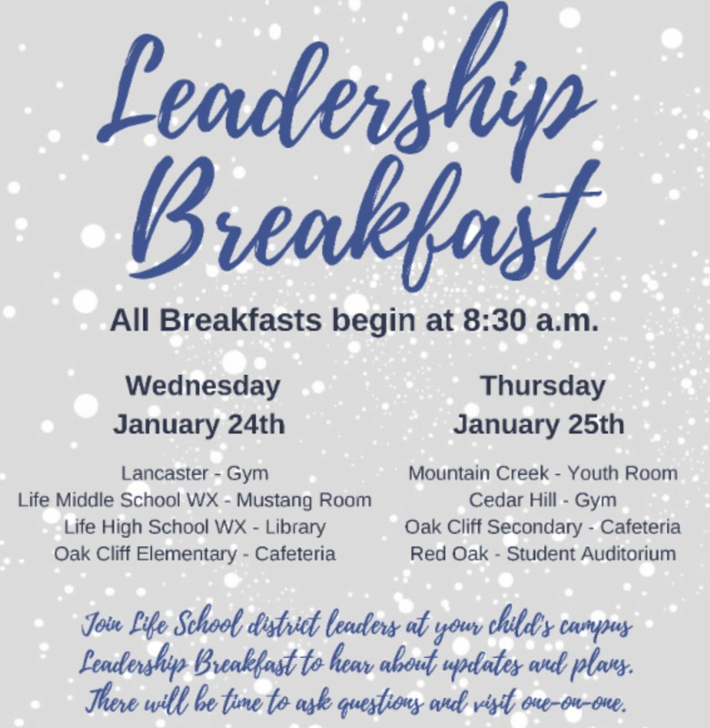 Leadership Breakfast Announcement