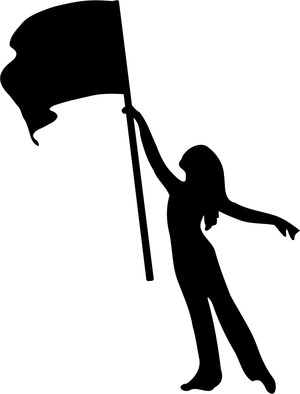Image of the silhouette of a color guard member.