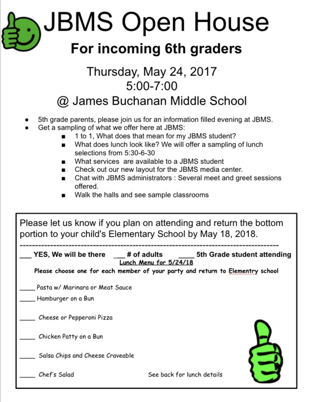 JBMS open house flyer - For incoming 6th graders on Thursday, May 24th from 5-7 pm