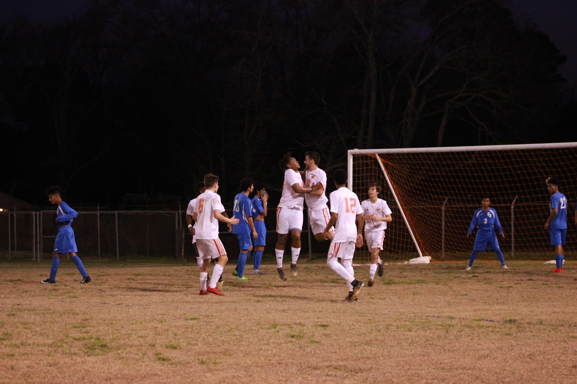 Jake G. and Latrell B. celebrating after their goal.