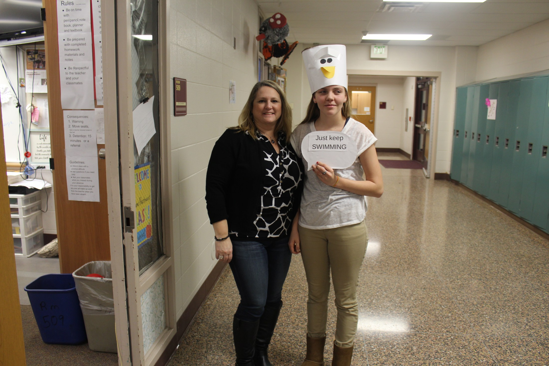 Mrs Baumgartner and student on homecoming dress up day