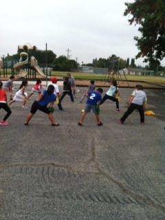 Students exercising as part of physical education.