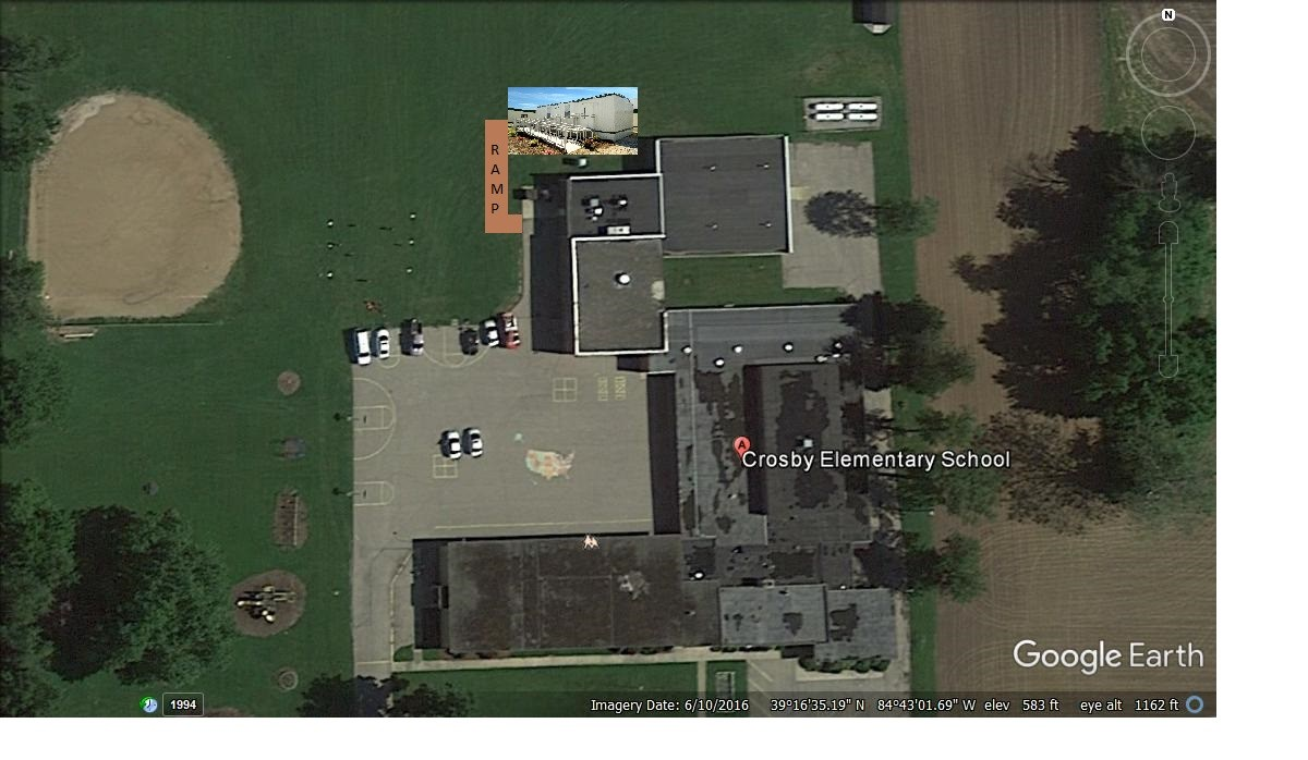 Approximate location of modular classrooms on the Crosby Elementary campus