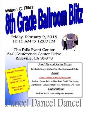 WCR PE Ballroom Blitz Dance Info Feb 9th 2018 10:15am to 12:00pm The Falls Event Center 240 Conference Center Drive, Roseville, CA  95678
