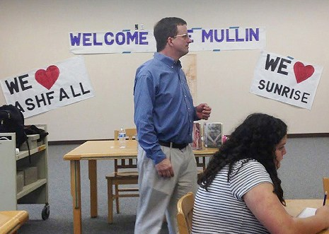 Author Mike Mullin leading writing workshops.