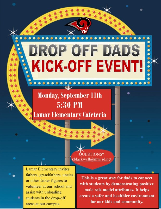 Drop Off Dad Kick Off Event Flyer