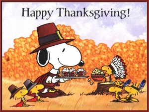 Happy Thanksgiving wording with cartoon characters