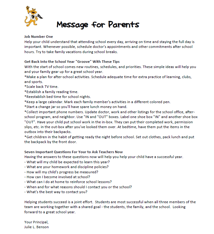 Message for Parents