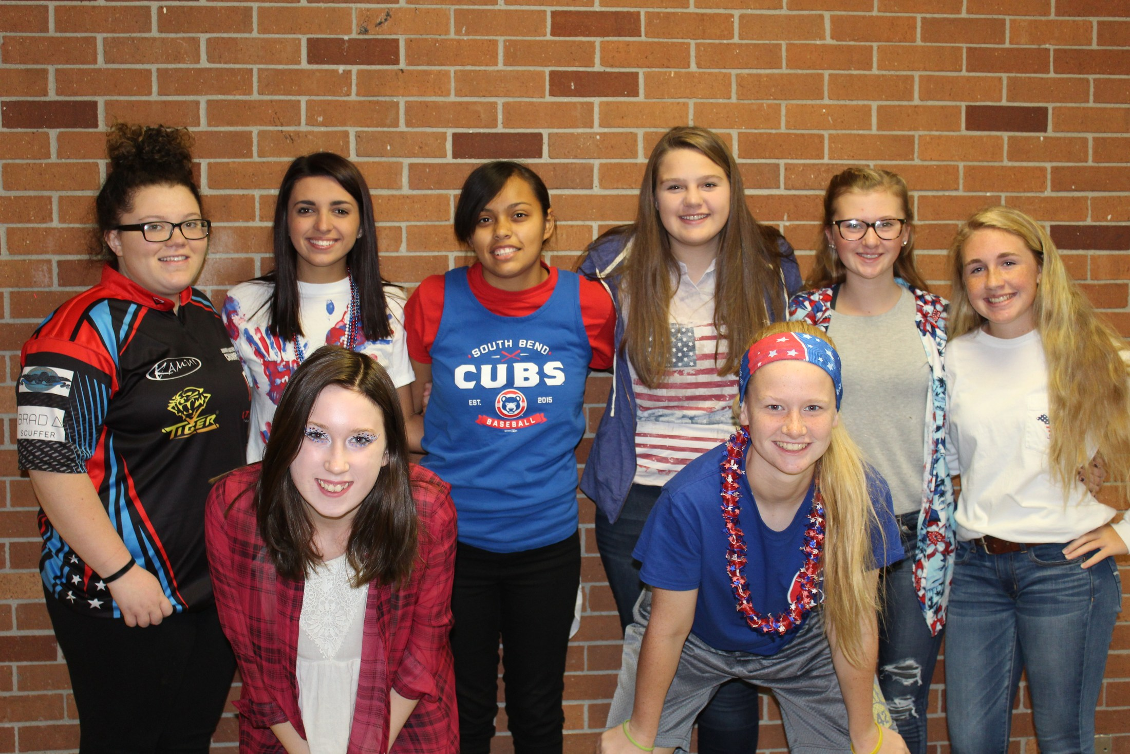 Students dressing for Red White and Blue day