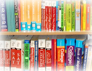 Books related to college searches and testing on a bookshelf.