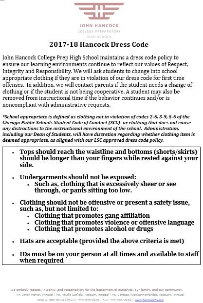 Image of School Year 18 Dress Code