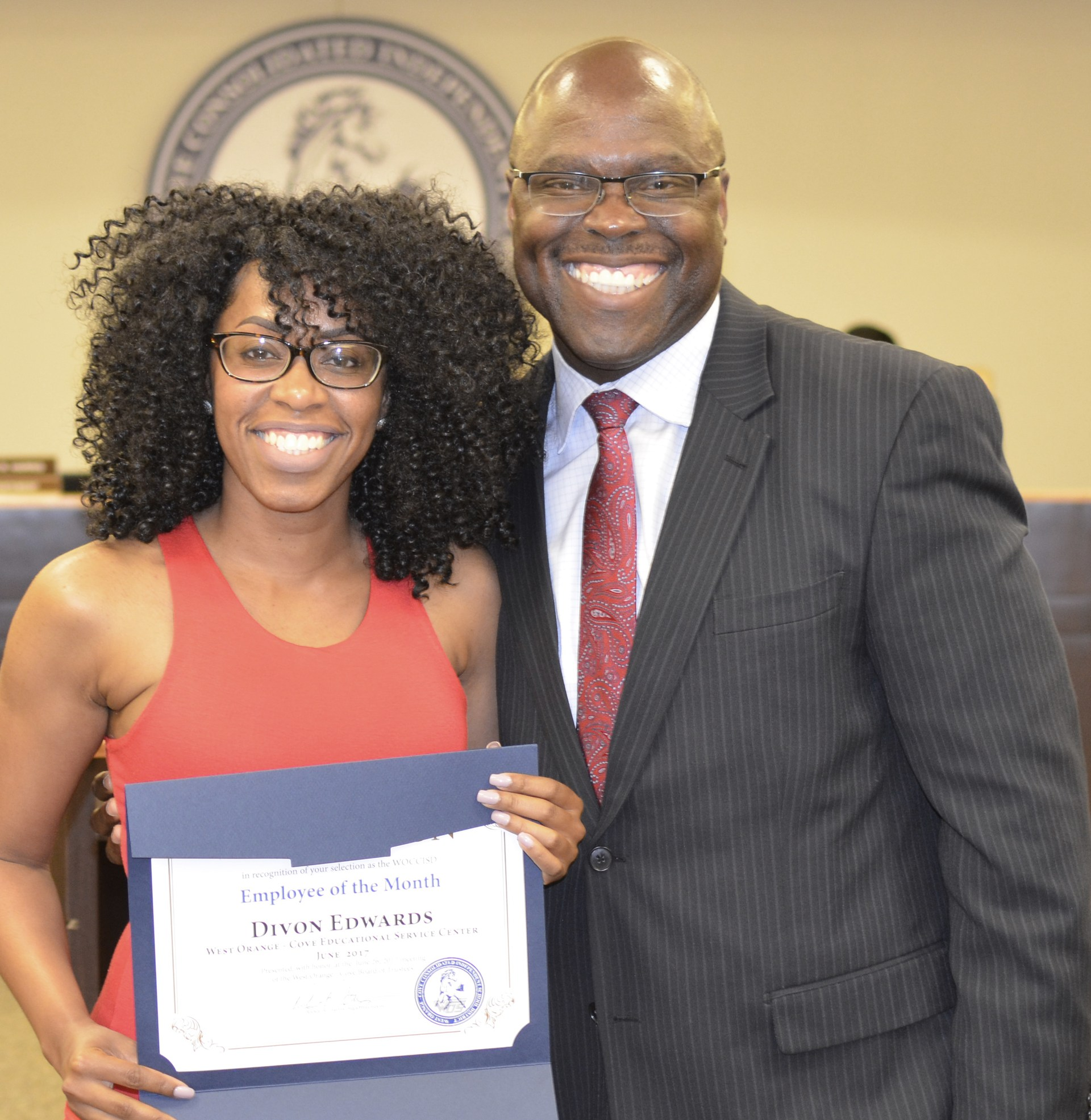 Divon Edwards is recognized as Employee of the Month.