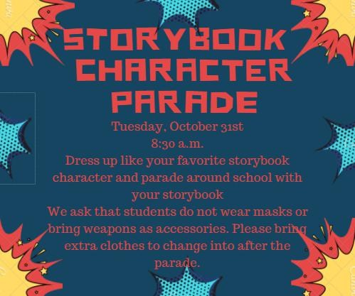 Announcement about the storybook character parade with explosions as decorations