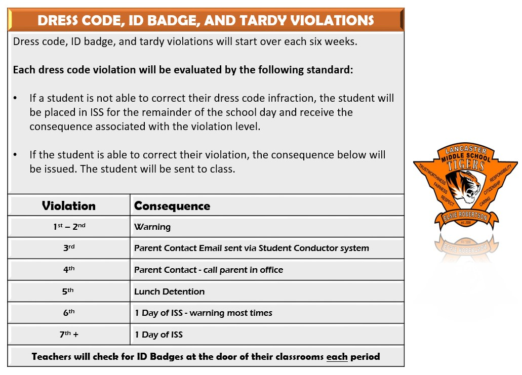 Dress code, ID badge, and Tardy violation policy