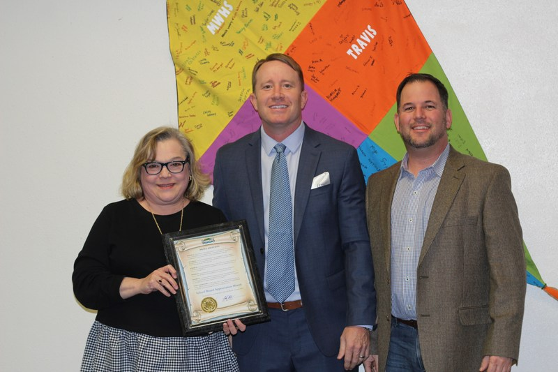 Mineral Wells City Council Bryan Shoemaker presents proclamation to MWISD Board of Trustees