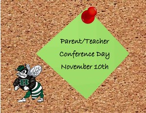 Corkboard with green sticky note held on with red push pin and words Parent/Teacher Conference Day November 10th. Image of hornet in lower left corner.