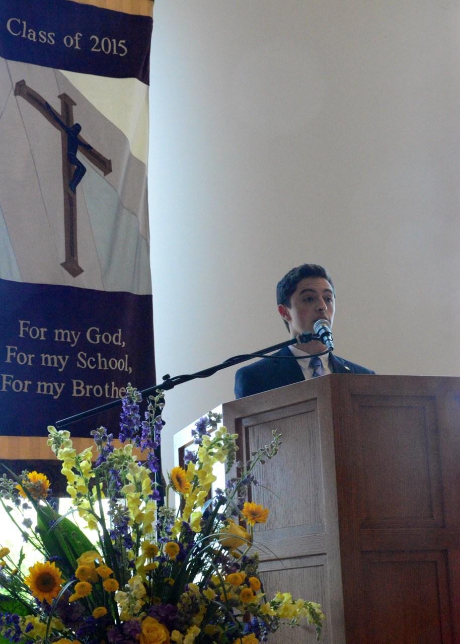 Student speaks at Mass