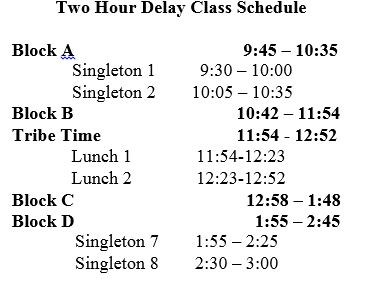 Two Hour Delay Class Schedule