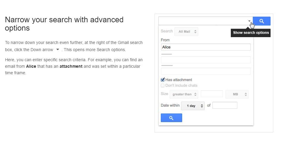 Narrowing Your Search Screenshot