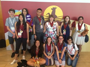 Photo of 2018 World Scholar's Cup Teams in Athens with medals and trophies
