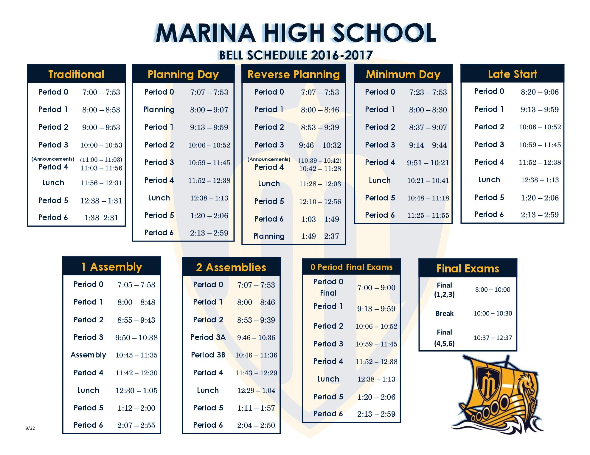 A list of our bell schedules