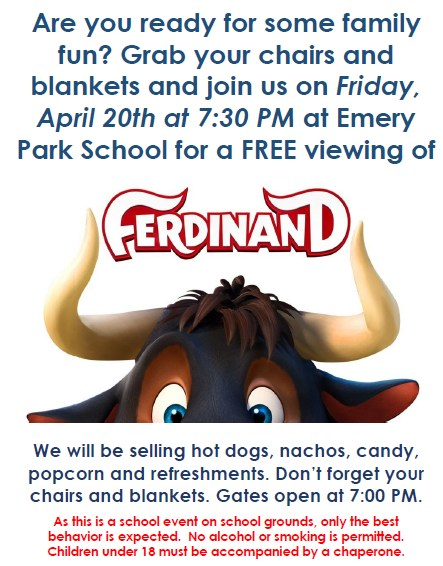 PTA Movie Night is Friday, 04/20/18! Presenting.... FERDINAND! Thumbnail Image