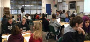 Students of Ms. Davis have a lively discussion on an interesting article in English today!