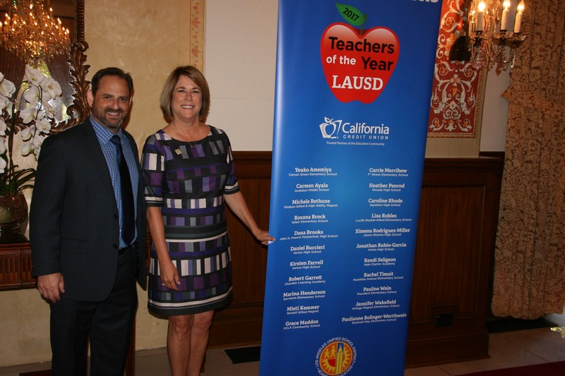 Mr.Bennett and Ms.Brooks at Teachers of the Year  L.A. Unified board members and top officials today recognized the District's 22 Teachers of the Year luncheon