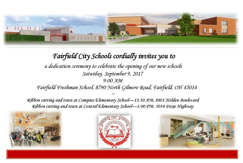 Dedication ceremony for the new schools invite for september 9 at 9 a.m. beginning at the new Freshman School