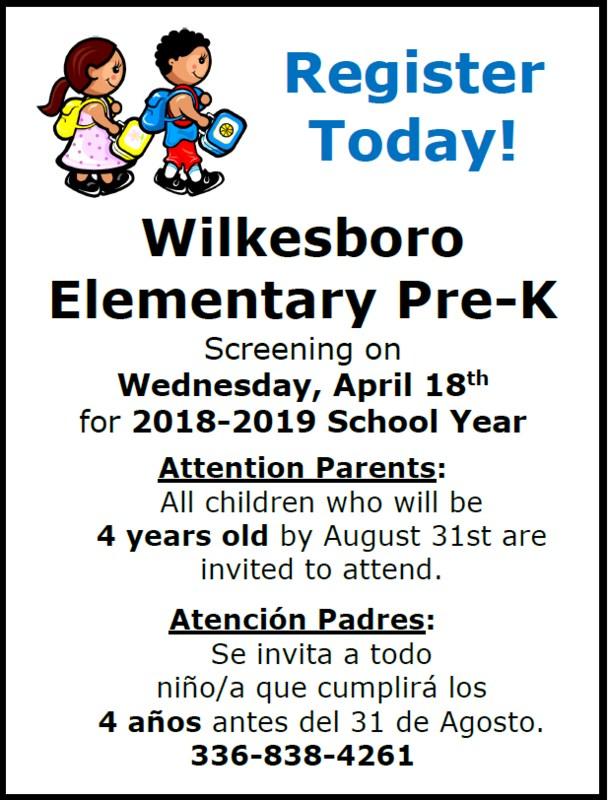 Wilkesboro Elementary Pre-K Screening Thumbnail Image