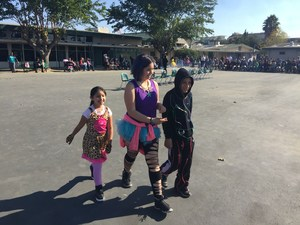 Students parading in their costumes during Lairon's costume parade.