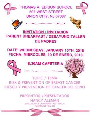 Parent Breakfast Workshop january invitation
