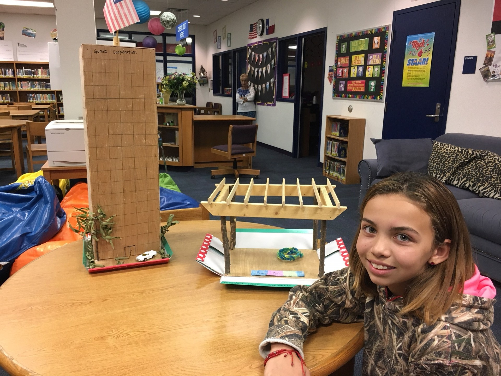 Veronica G. shows off her MakerSpace projects