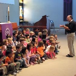 children learning in chapel